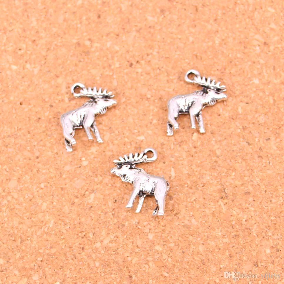 Wholesale 72pcs Fashion Antique silver moose deer charms metal pendants for diy jewelry findings 18*16mm