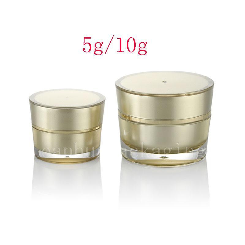 5g 10g Golden Slanting Round Crema de acrílico Tarro contenedor Pequeño Empty muestra Cosmetic Pot, Gold eye cream Cosmetics Packaging