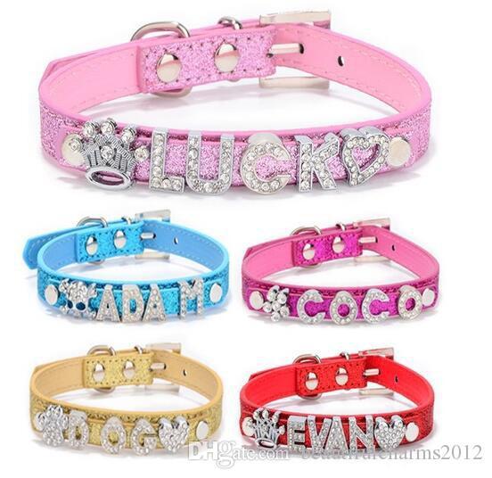 Commercio all'ingrosso 20pcs / lot cuoio PU Personalizzato Sparkly Pet Collar per cani o gatti con barra di scorrimento da 10 mm Fit per lettere da 10 mm