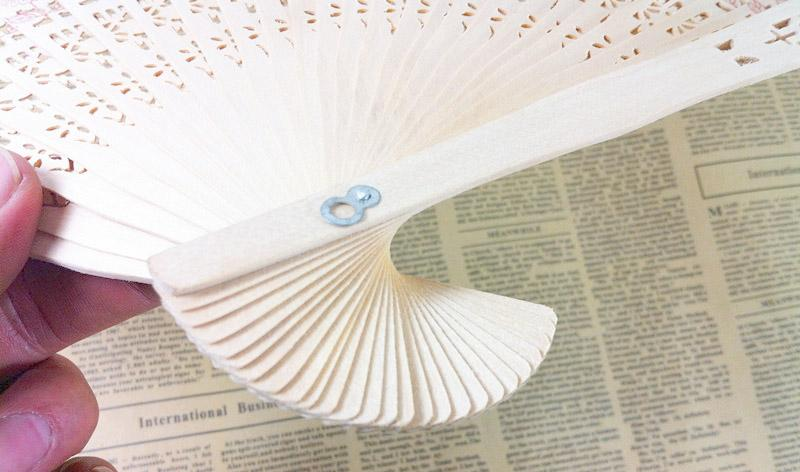 Chinese Folding Bamboo Original Wooden Carved Hand Fan fit Wedding Party SOD