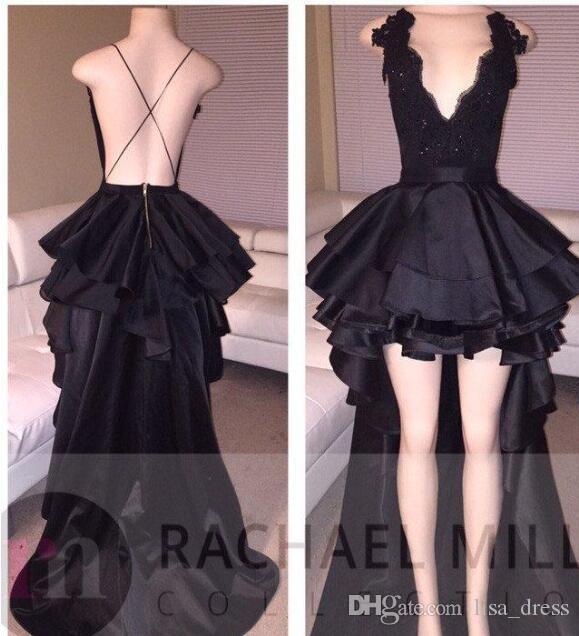 2017 New Black High Low Prom Dresses Profondo scollo av Sexy Backless Lace Paillettes Abiti da sera lunghi Abiti da cerimonia formale economici Abiti corti Prom