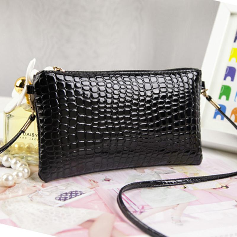 Wholesale- Women Bags New fashion hot PU Leather women patent leather single shoulder bag Crocodile messenger bags