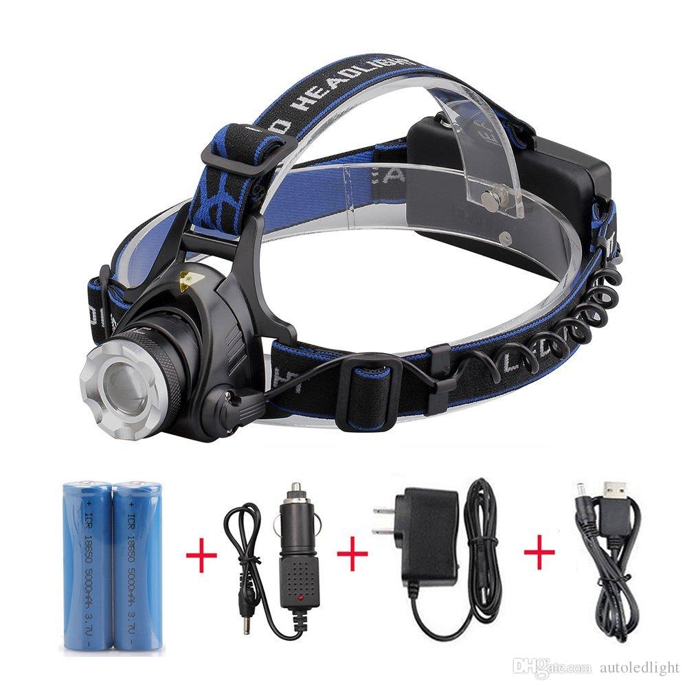 3800LM T6 LED 헤드 램프 줌 헤드 램프 자전거 조명 충전식 방수 헤드 라이트 + 2 * 18650Batteries + 차 충전기 + AC / 충전기 + USB