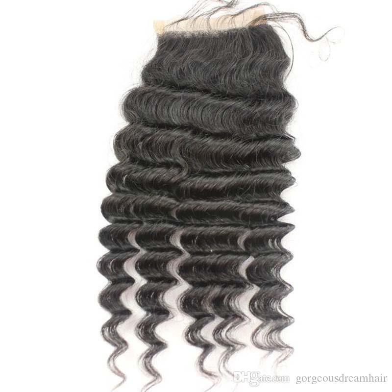 Cheveux brésiliens Lace Closures Fermeture à base de soie 4x4inch haut en soie bouclée profonde Fermeture en dentelle avec des cheveux de bébé