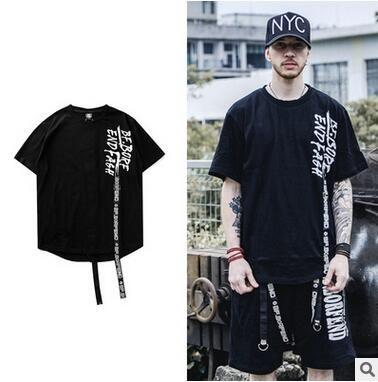 NOVA Moda Hip-pop Skate T-shirt Criativa Design Strap T-shirt Street Dance Performance Vestuário Preto Dos Homens T de Manga Curta