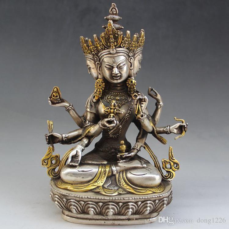 Разное антиквариат бронзовая коллекция античная медь Мельхиор позолоченный Три лица Будда микро пейзаж украшения ремесла