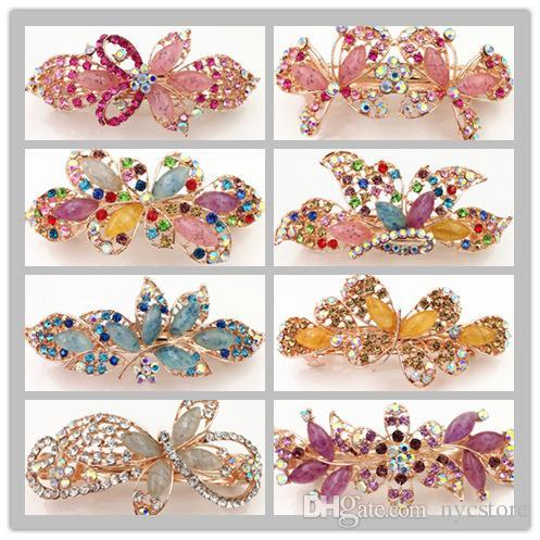 jade imitation design mélange de style gros dossier strass chaud printemps hairclips femmes clip cheveux mode barettes