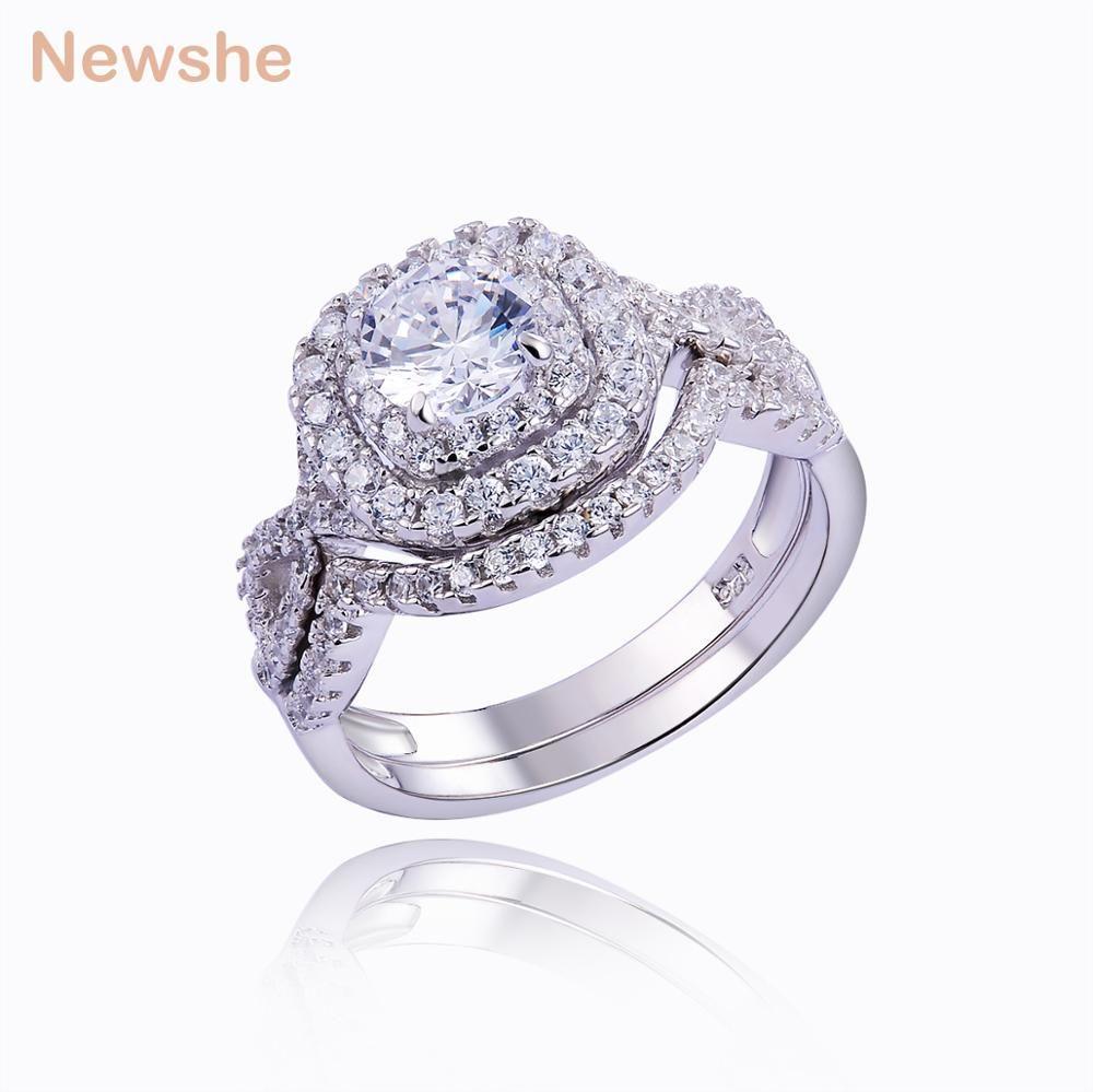 Newshe 1.9 CT 2 قطع الصلبة 925 فضة خاتم خاتم الزواج مجموعات الخطوبة الأزياء والمجوهرات للنساء JR4844 WZW