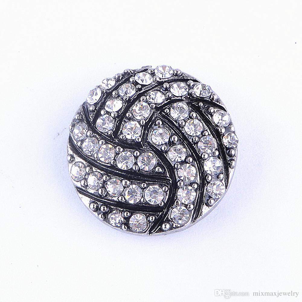 Commercio all'ingrosso 20pcs mix sport calcio pallacanestro pallavolo bottoni a pressione fascino pezzo con strass gioielli fai da te nuovo di zecca