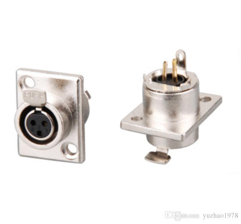 고품질 KUILONG 2pcs / lot 금도금 MINI XLR 3-PIN PANEL SOCKET 커넥터 오디오 비디오 커넥터