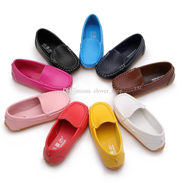 Kids Boys Girls Slip On Soft Loafers Oxford Flats Toddler Casual PU Boat Shoes