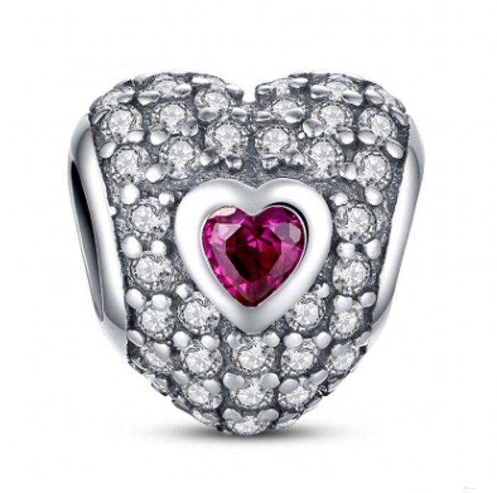 New 925 sterling silver sterling pave cristallo amore cuori charms fai da te gioielli per la produzione di gioielli fai da te adatti famosi braccialetti di fascino fai da te design BF231