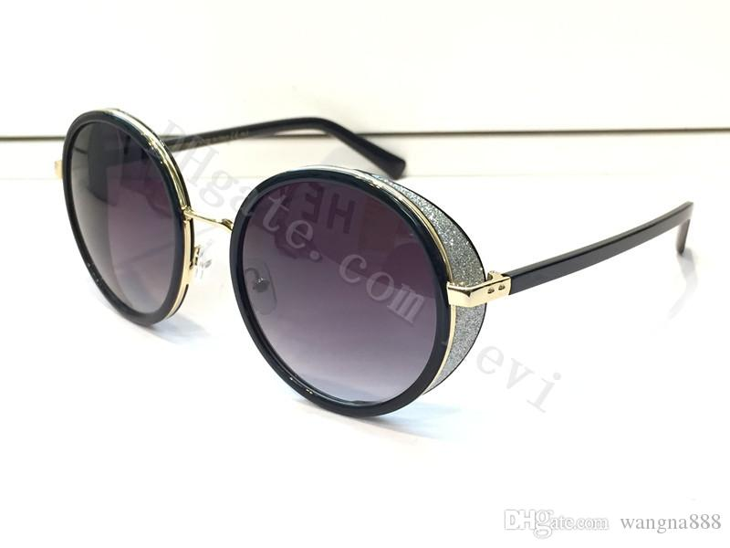 2016 Free Ship new fashion sunglass women brand designer vintage round shape googles with mirror lens shiny stone leather frame