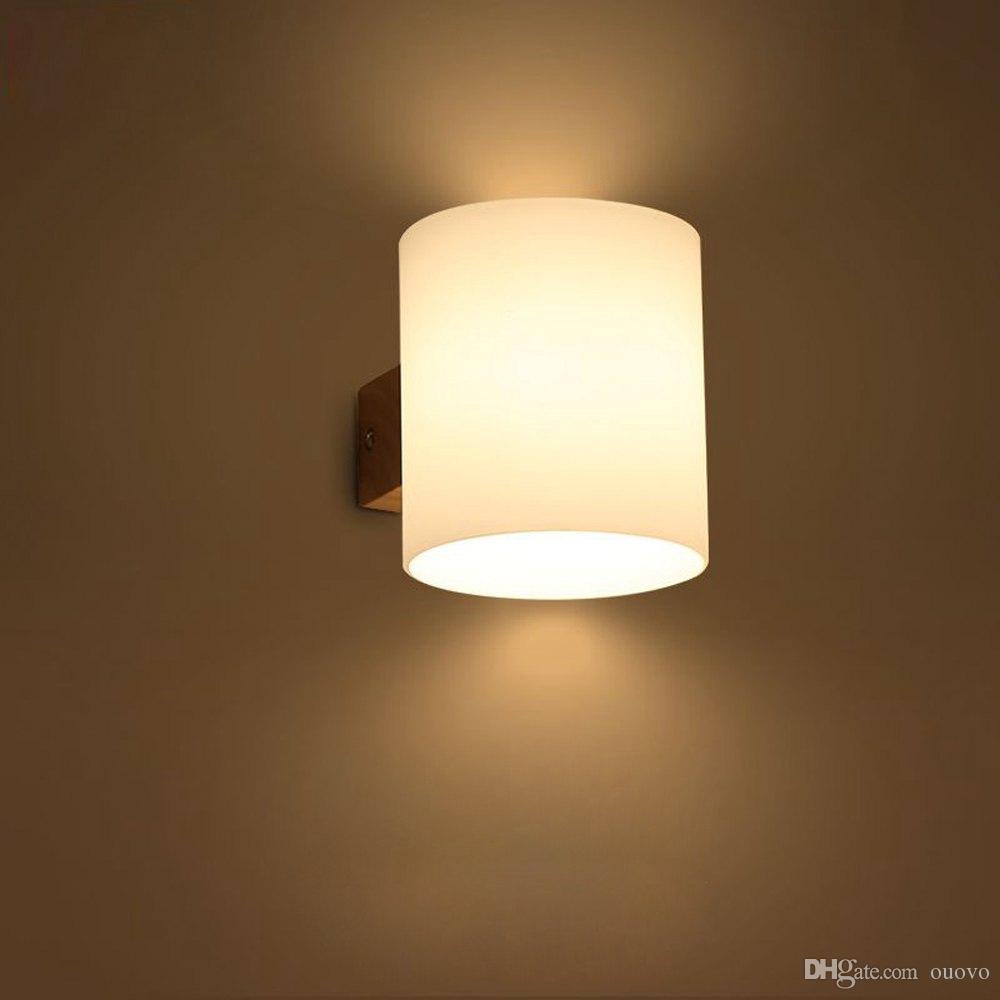 Illuminazione Bagno A Parete acquista legno cilindro di vetro camera da letto moderna comodini lampada  da parete specchio del bagno anteriore corridoio balcone corridoio parete