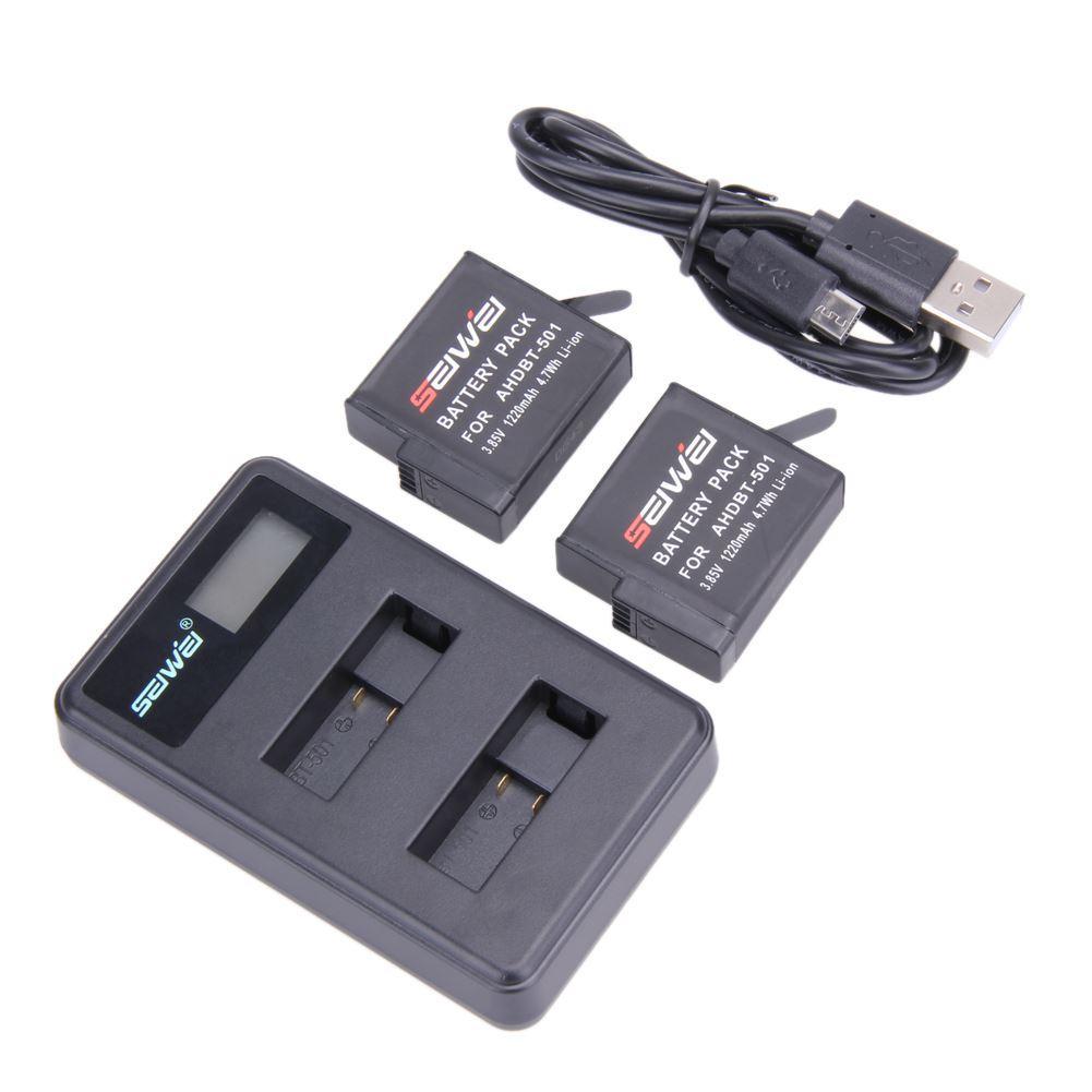 Freeshipping 1pcs/2pcs/4pcs AHDBT-501 Li-ion Battery 1220mAh+1PCS Dual USB Charger LCD Intelligent Screen Charger for Gopro Hero 5 Camera