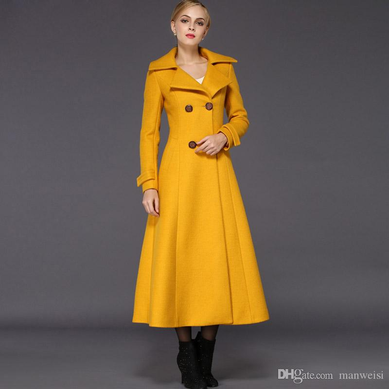 New Winter Woman Yellow Wool Slim Coat Maxi Warm Long Jacket Casual Trench coat Female Cold outwearts