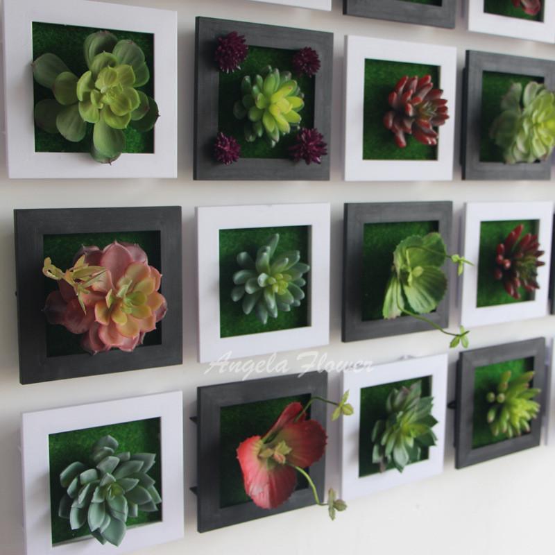 Al por mayor-Negro creativo 3D metope plantas suculentas Imitación madera marco de la foto decoración de la pared flores artificiales decoración del hogar sala de estar