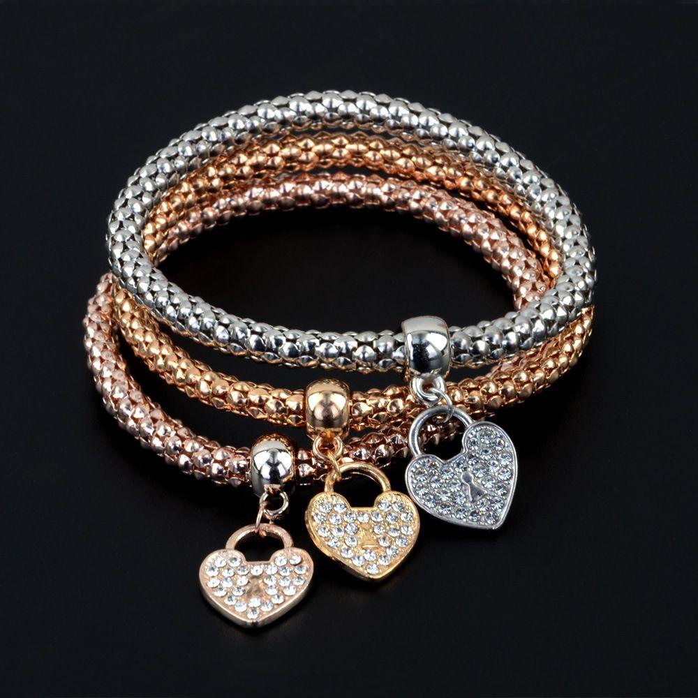 Kadınlar için Set Elmas Kalp kolye Üst Kalite Bileklikler Bilezikler Üç Renk Takı ile 3 stilleri Elastik Mısır Zinciri