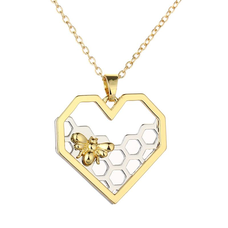 Wholesale- Chic Silver Gold Bee On The Honeycomb Necklaces & Pendants Hexagon Comb Hive Necklace For Women Jewelry You are My honey 2016