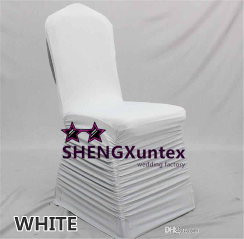 White Color Ruffled Lycra Spandex Chair Cover Back With A Swag