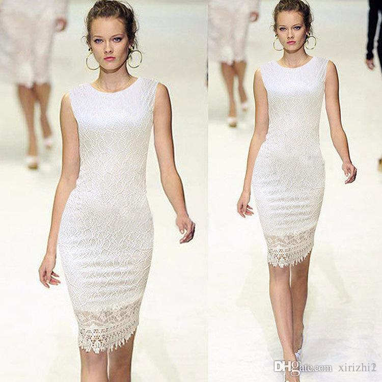 European OL Lace Evening Dress Hot Elegant Good Quality Embroidery Gauze Knee-length Pencil Dress White Black