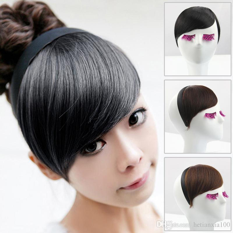 1pcs Fringe oblíqua Falso grampo de cabelo em Synthetic Bangs corte do cabelo Bangs Frente cabelo estrondo Neat com aro frete grátis