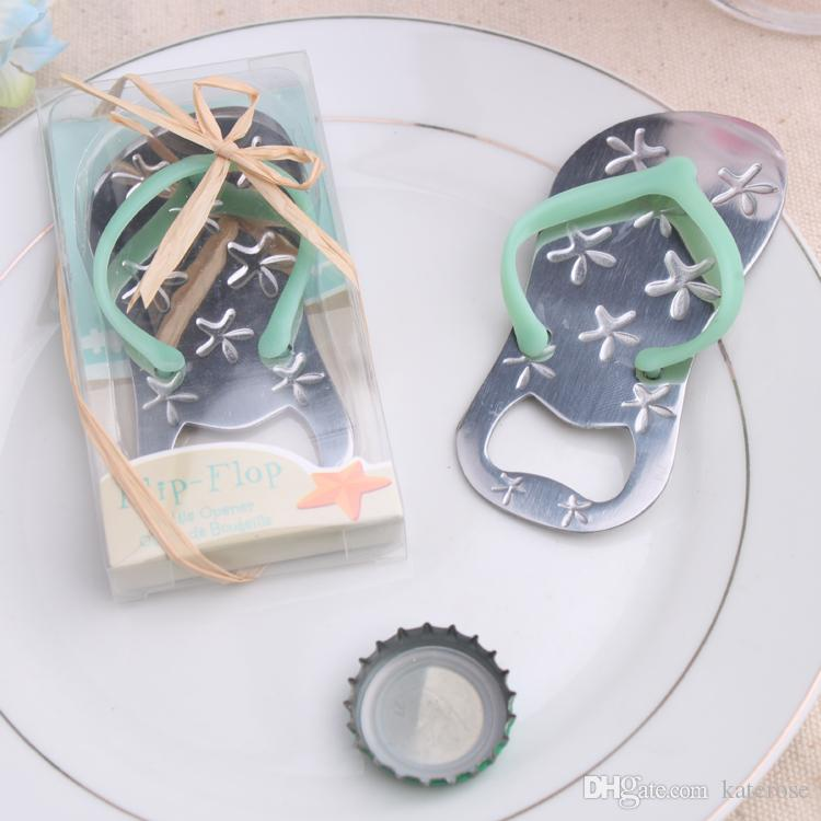 50PCS Blue Flip-Flop Bottle Opener with Engraved Star Beach Themed Wedding Favors Sandal Slipper Beer Openers Party Supplies FREE SHIPPING