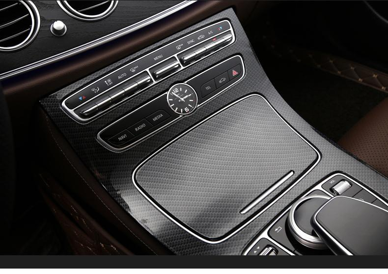 For Mercedes Benz E Class W213 16 17 Center Console Gear Position Panel  Carbon Fiber Style Cover Trim Car Styling Dashboard Decorations Dashboard