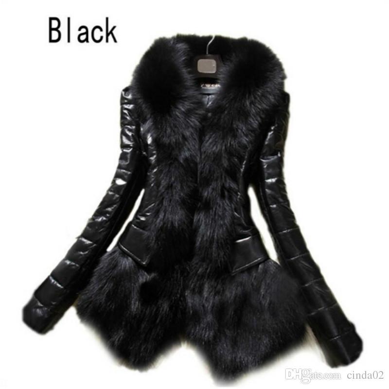 Abrigo de piel sintética de lujo de las mujeres calientes Ropa de abrigo de cuero Traje de nieve Chaqueta de manga larga Negro Moda Envío gratis