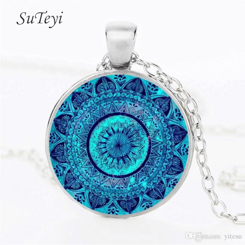Charms Mandala Statement Necklace Vintage Glass cabochon Necklaces & Pendants Zen Yoga Hanna Spirital Jewellery Lucky Amulet