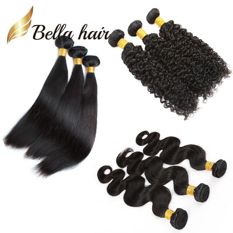 3pcs / lot spendete brasilianische haarverlängerungen gerade körperwelle lockig 3 bündel 100% menschliches haar 12-24 zoll günstigste 7a bellahair