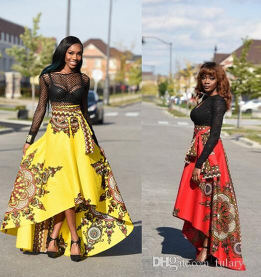 2017 New women Bohemia Dresses Fashion printing in Africa Midi Dresses Before The Short After The Long Large Swing Skirts
