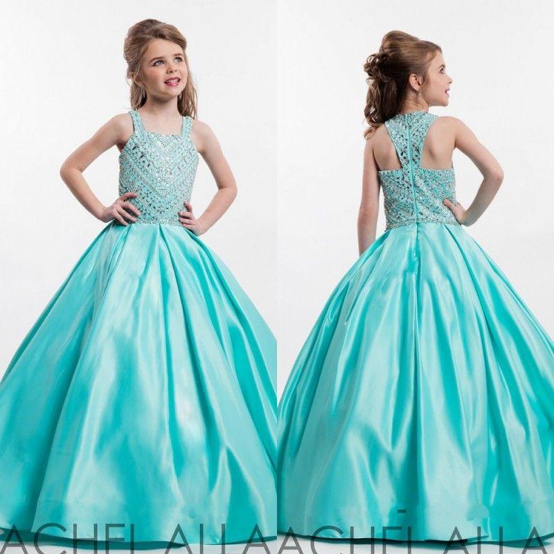 Söt liten tjejs pageant klänningar blomma flickor dag klänning prinsessa communion party med 2020 pärlor paljetter fuchsia gröna satin tonåring barn