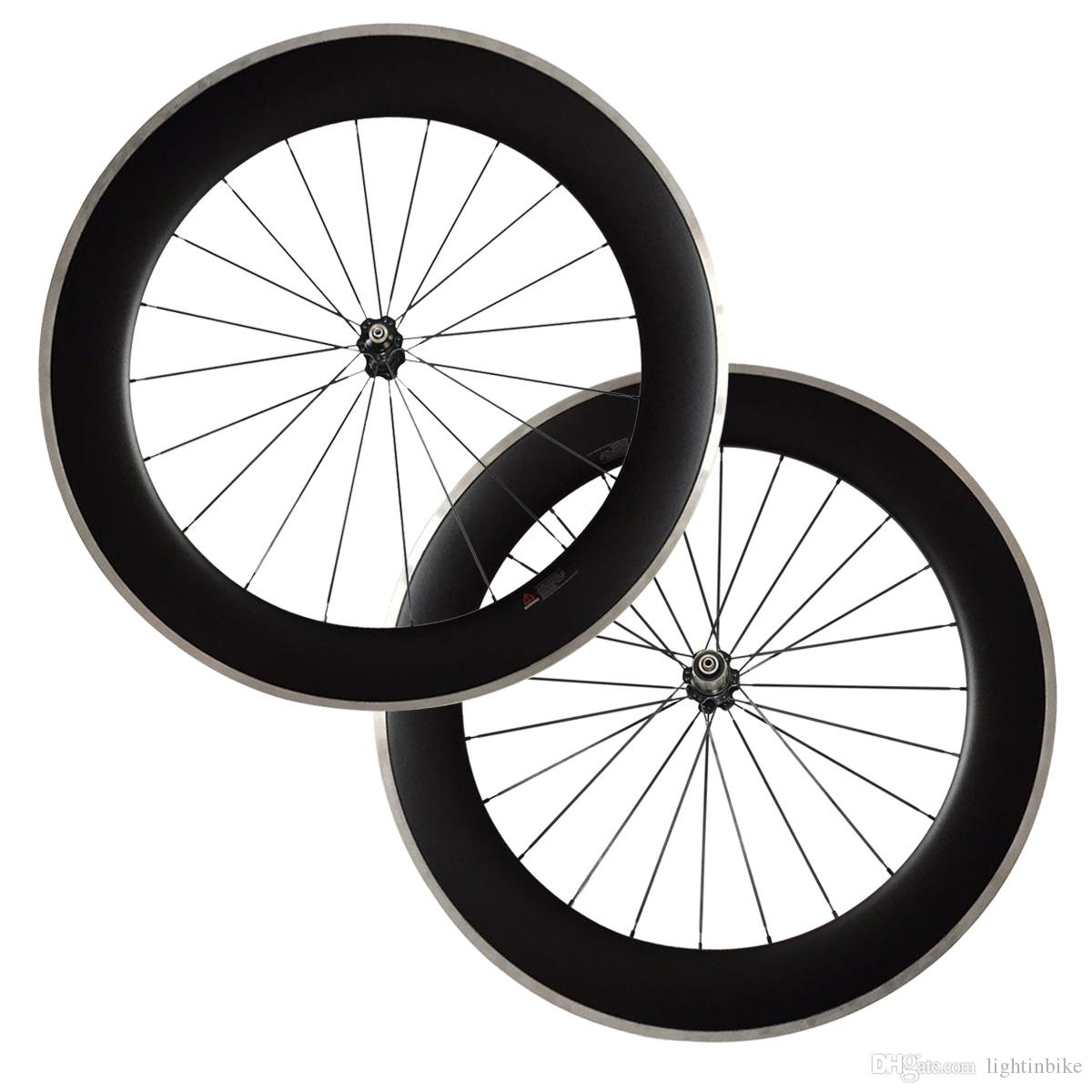 700C 80mm Clincher carbon bike wheels with Alloy brake track Road Bike Wheelset 23mm Width Alloy Carbon Free Shipping