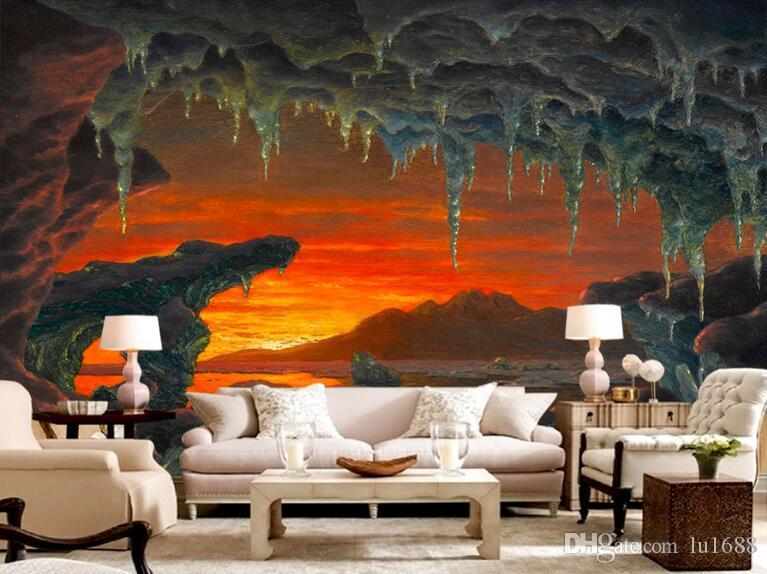 Wohnzimmer bilder fr hintergrund  Großhandel Western Malerei Eine Arktische Eisberg Höhle Landschaft ...