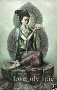 Enmarcado, envío gratis, Dunhuang-Fairy-Avalokitesvara-Guanyin, pintura al óleo del arte puro de la artesanía en la lona los tamaños múltiples se pueden modificar para requisitos particulares R165
