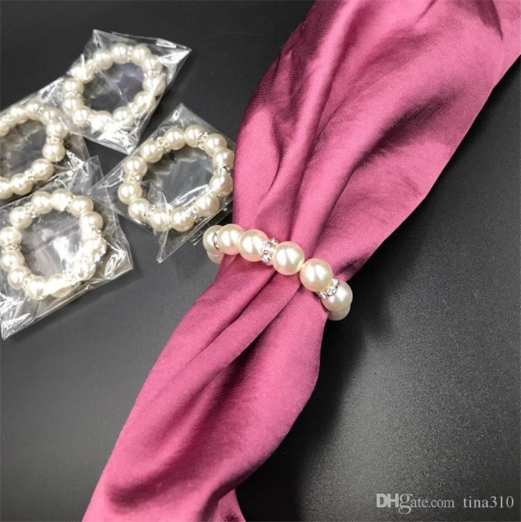 100шт / Lot Белого жемчуг кольцо для салфеток Свадебной Салфетка Пряжки для Свадебного приема партии Таблицы украшения Поставки I121