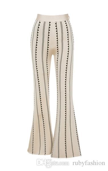 Black bodycon flare bandage pants and vest jacquard suit ladies ...