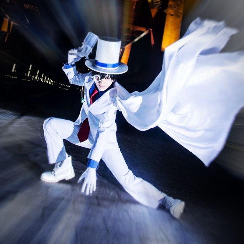 Kaitou Kiddo Kid the Phantom Thief 코스프레 의상 일본인 애니메이션 Conan 형사, 옷을 가린 의류 가장 무도회 / 마디 그라 / 카니발 코스