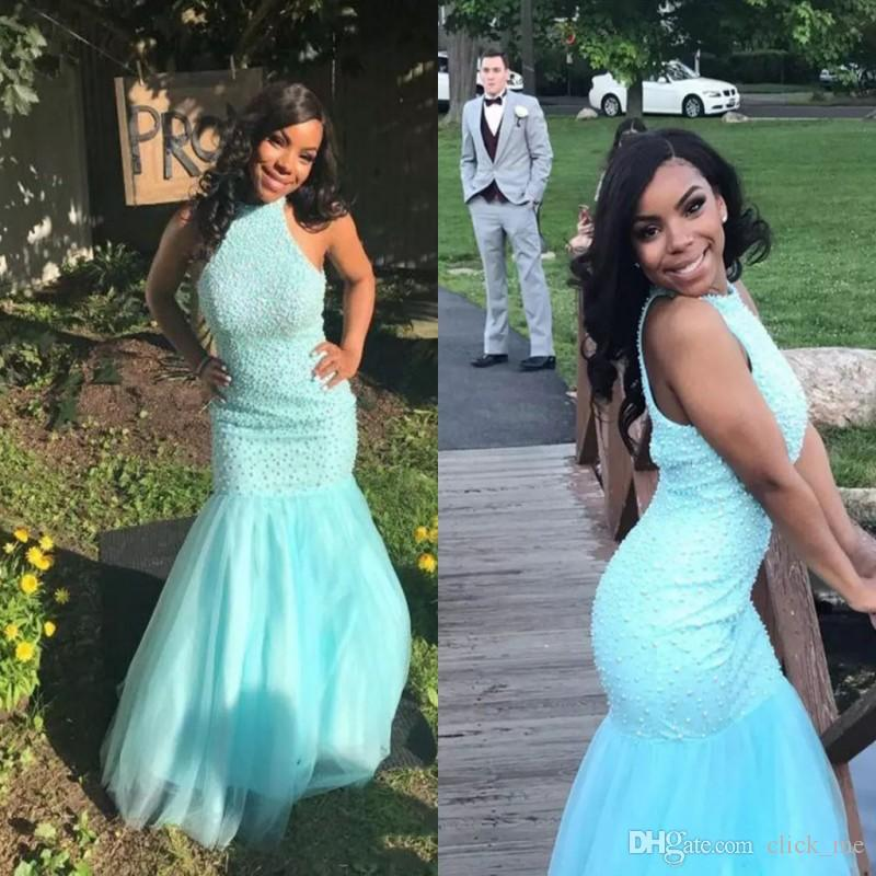 Baby Blue major Beading Mermaid Prom Dresses Jewel Sleeveless Tulle Girls Pageant Dress African Vestidos African Party dresses evening wear