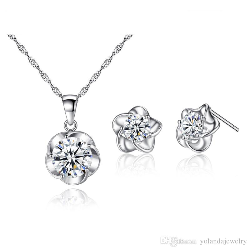 Femmes simples Femmes Daily Charming Bijoux de Charme Blanc Gold CZ Flower Boucles d'oreilles Collier Set pour Filles Femmes
