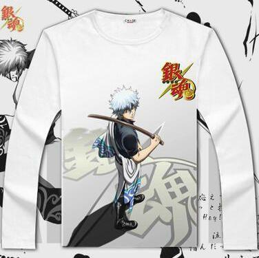 Anime Gintama,Cosplay Sakata Gintoki,loisir manche courte 100/% coton T-shirt