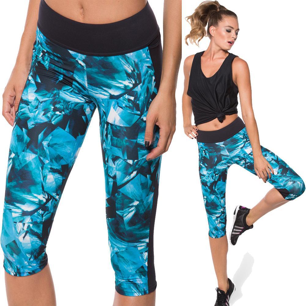 Yeni Yüksek Bel Spor Pantolon Kırpılmış Yoga Egzersiz Koşu Tayt Kadın 7 Puan Koşu Pantolon Elastik Kapriler Yoga Pantolon