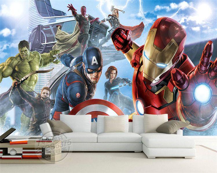 Avengers Ragazzi Camera Foto sfondo personalizzato 3D Murales Marvel Comics carta da parati camera Design d'interni in camera per bambini