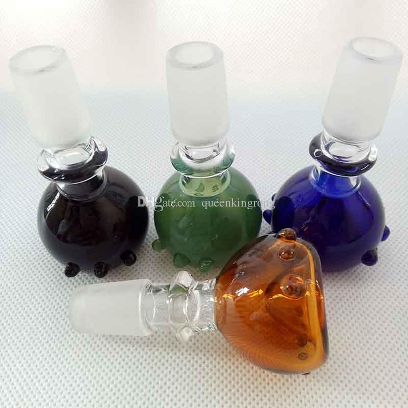 Bunte Glasschüssel Punkt 14mm 18mm Männliche Gelenk Raucher Rohre Zubehör Für 5 Farben Öl Rigs Wasser Bongs Wasserhaare Werkzeuge