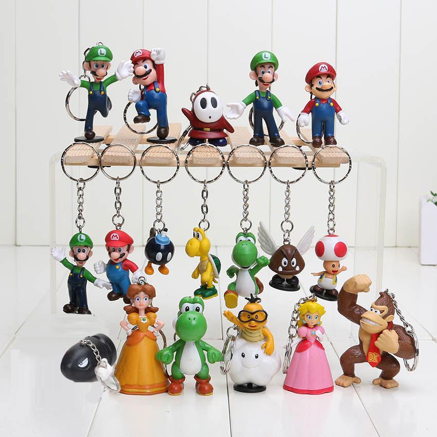 Super Mario Bros Luis llavero figuras de acción 18pcs / set nueva llegada del youshi Mario regalo de OPP