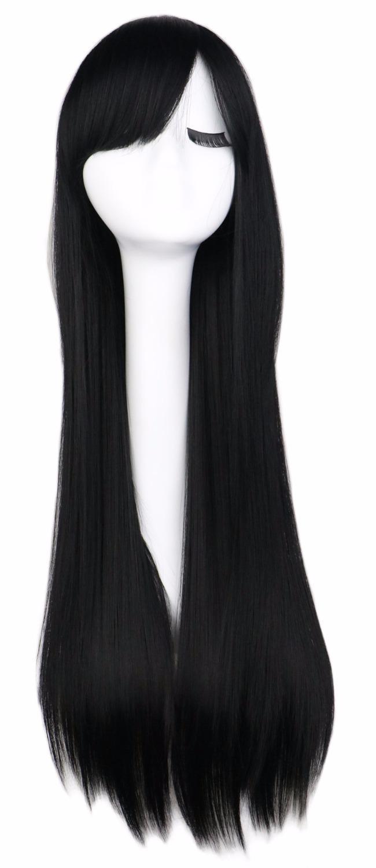 Parrucca cosplay lungo rettilineo Qqxcaiw Nero Viola Rosa Blu Nastro Grigio Biondo Bianco Arancione Marrone 80 Cm Parrucche sintetiche per capelli