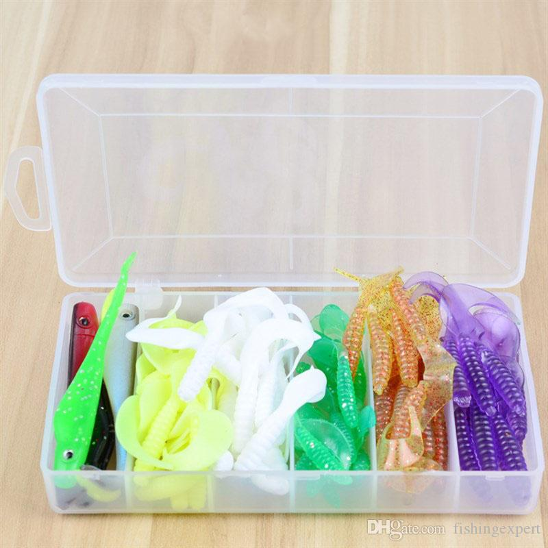 Top Sale 80PCS Box-packed Soft Baits Combo 6 Kinds Silicone Plastic Fishing Lure Sets or Lifelike Grub Twintails Worms Baits