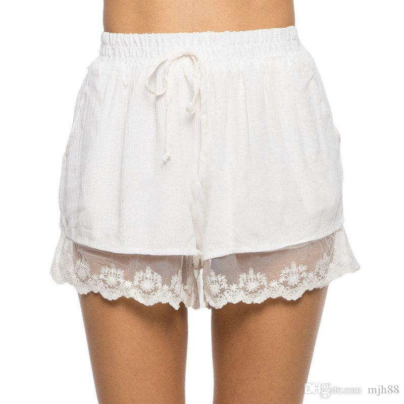 2017 Women Lace High Waist Summer Hot Shorts White Lace Color Sexy ...