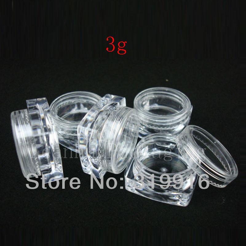 Os recipientes plásticos de creme quadrados vazios de 3g X 50 mini, garrafas pequenas da amostra, indicam frascos cosméticos para o empacotamento da amostra